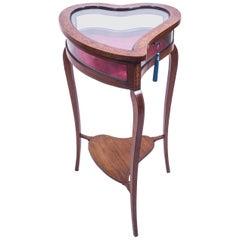 19th Century Mahogany Heart Shaped Display Curio Bijouterie Table