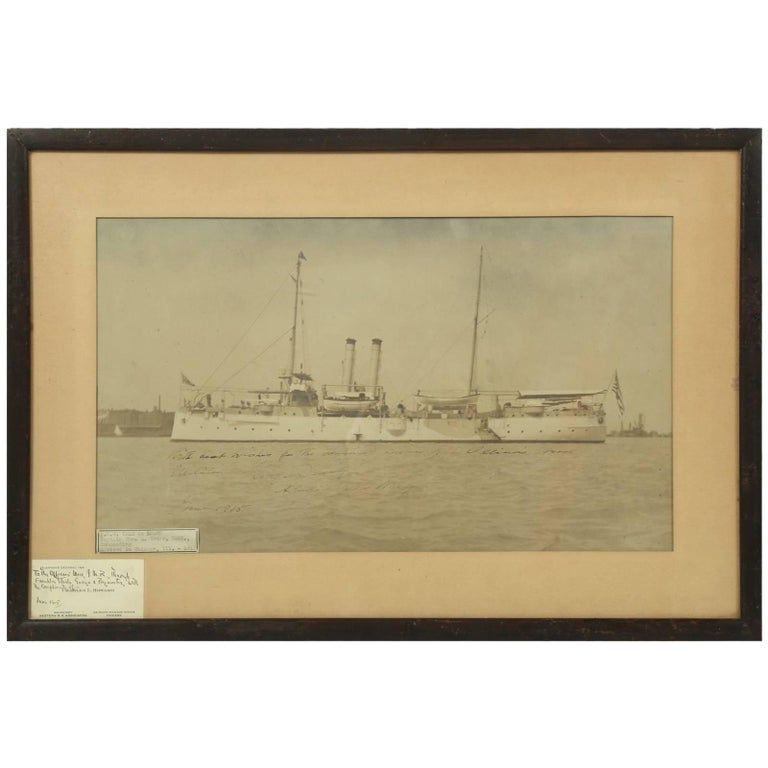 Signed Photograph by Admiral George Dewey of the U.S.S. Isle de Luzon For Sale
