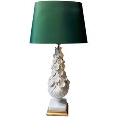 20th Century Spanish White Lamp with Calla Lilly Made of Ceramic Green Shade
