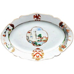 Chinese Export Armorial Porcelain Dish, Arms of Pole, circa 1745