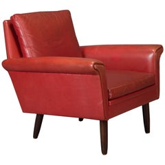 Red Leather Danish Modern Armchair