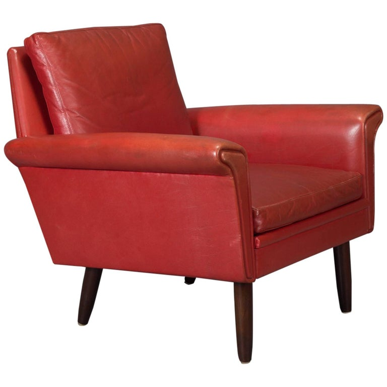 Red Leather Danish Modern Armchair For Sale at 1stdibs