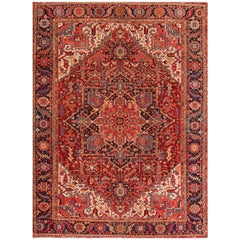 Large Antique Red/Rust Geometric Heriz Carpet