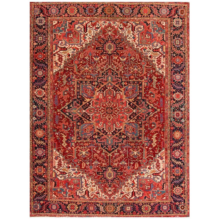 Large Antique Red/Rust Geometric Heriz Carpet For Sale