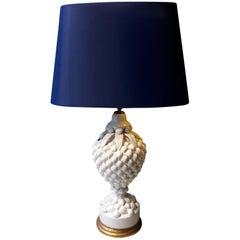 20th Century Spanish White Mussel Pattern Lamp Made of Ceramic Blue Shade