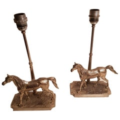 Silver Plated Horse Table Lamps