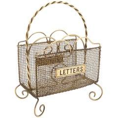 Victorian Brass Wire Work Letter Rack, circa 1890
