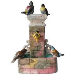 Majolica Birds Fountain Jerome Massier Fils, circa 1910