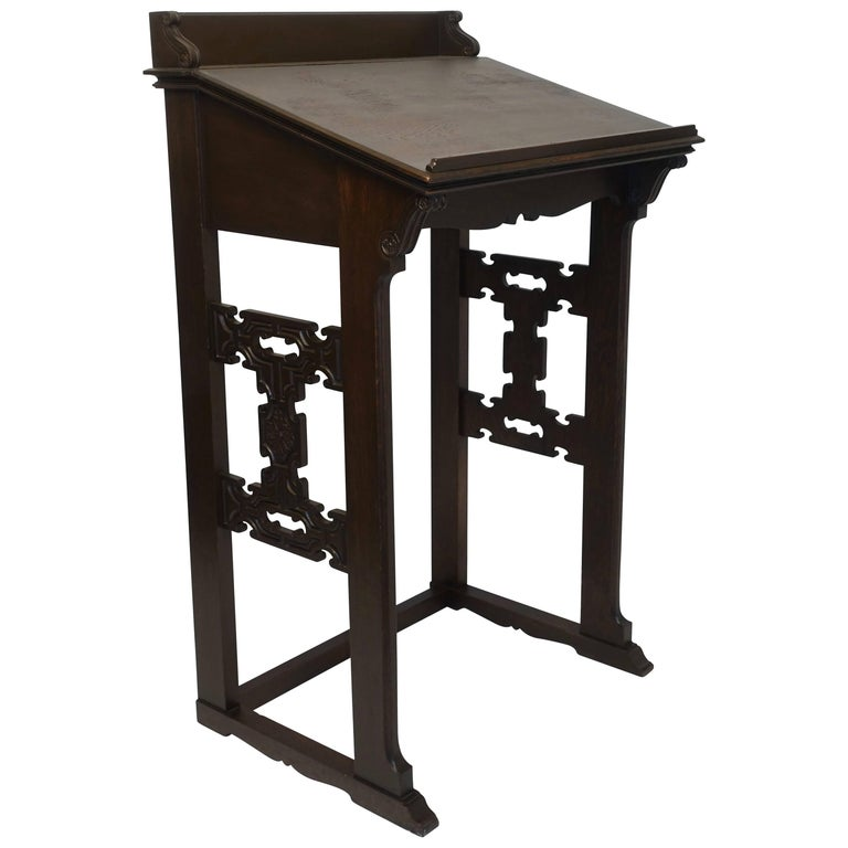 Carved Oak Podium or Lectern, American, 19th Century For Sale