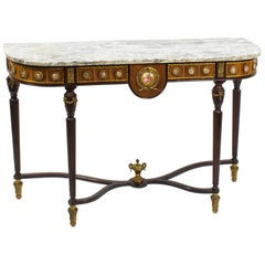 French Marble-Top Console Table Sevres Porcelain & Ormolu Mounts, 20th Century