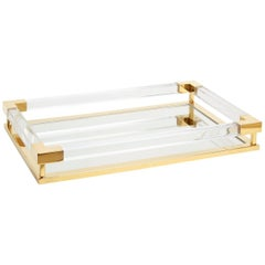 Large Jacques Tray in Clear Lucite and Brass
