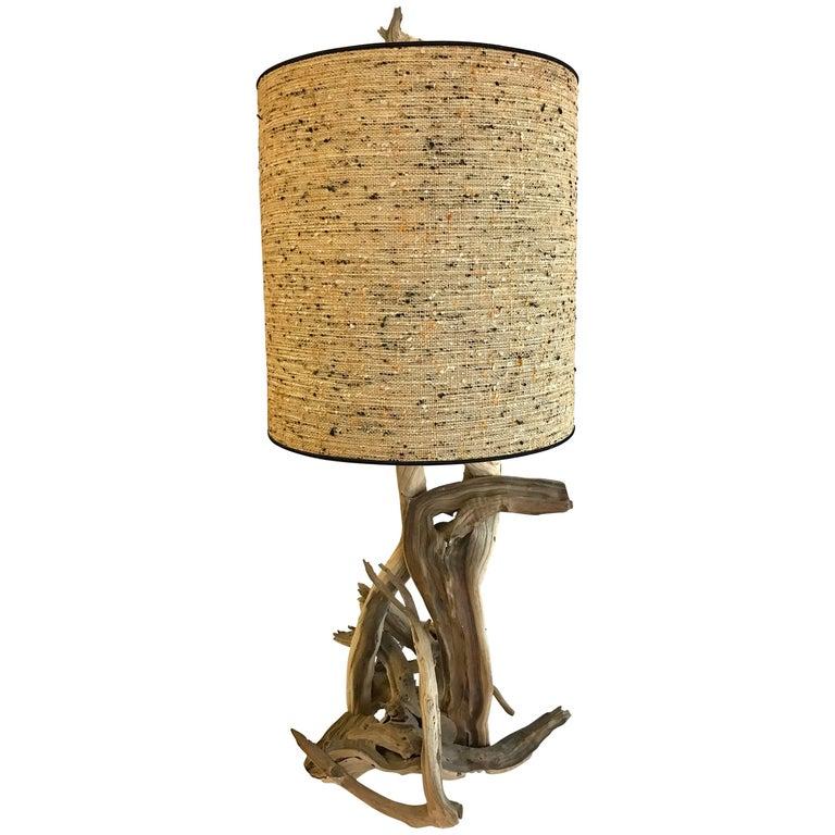 Midcentury Very Tall Driftwood Lamp