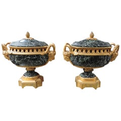 Pair of Louis XVI Style Green Marble and Ormolu Mounted Oval-Shaped, circa 1870