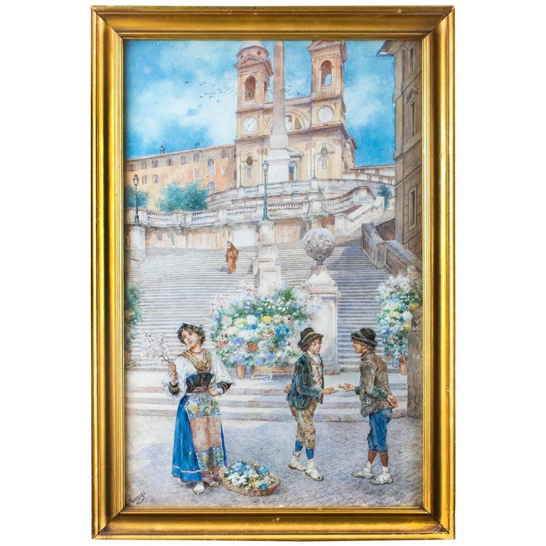 "19th Century Watercolour Ettore Ascenzi ""The Spanish Steps"" For Sale"