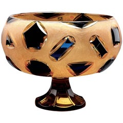 Crystal Bowl in Amber and Blue