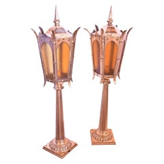 Cast Bronze Amber Lantern with Fluted Post
