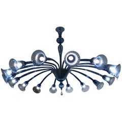 Original Venini Chandelier with Light blue Blown Glass, 1920