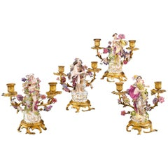 Four Seasons Porcelain Candelabra by Samson & Sons
