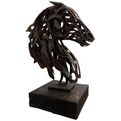 Brutalist Horse Bust Sculpture by Pedro Cervantes, 1960s, Offered by La Porte