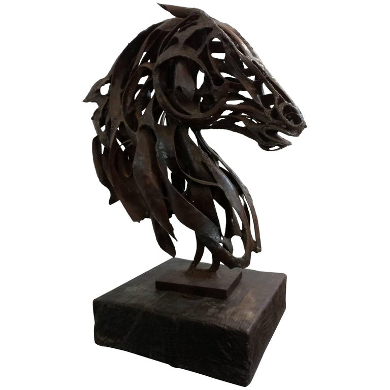 Brutalist Horse Bust Sculpture by Pedro Cervantes, 1960s, Offered by La Porte For Sale