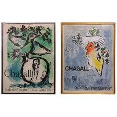 Dual Le Ciel Blue, L'Oiseau Vert Marc Chagall, Mourlot, Paris, 1960s Lithographs