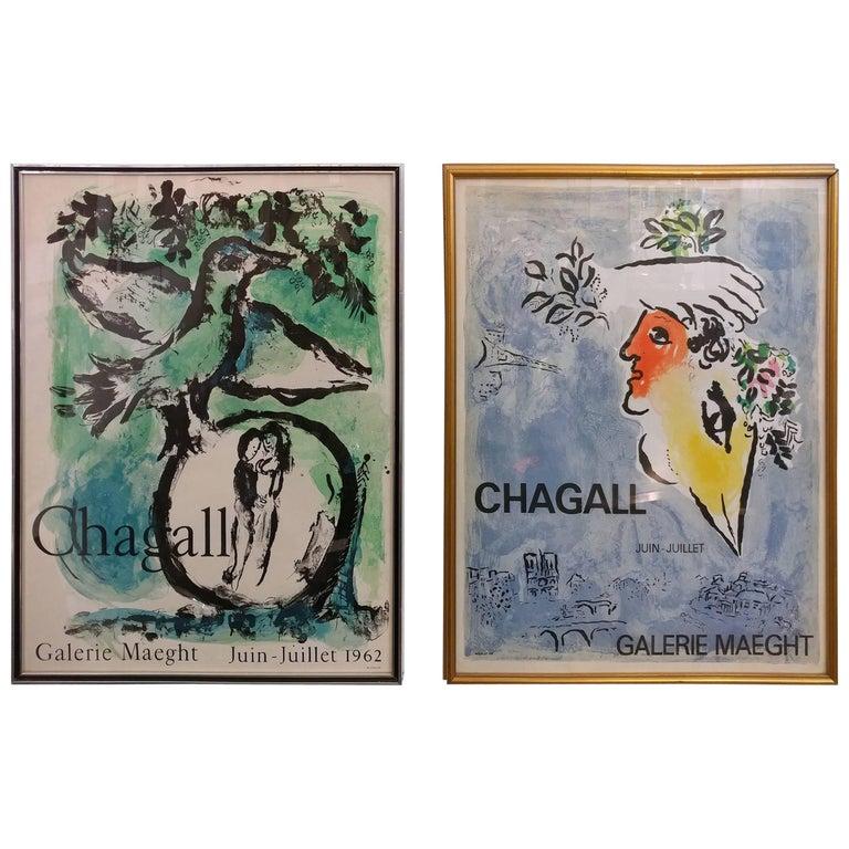 Dual Le Ciel Blue, L'Oiseau Vert Marc Chagall, Mourlot, Paris, 1960s Lithographs For Sale