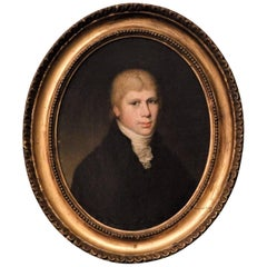 Oval Portrait of a Young Man, Oil on Canvas, circa 1800, England