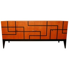 "Buffet ""Filets"" in Hermes Orange and Black Sycamore Marquetery by Aymeric Lefort"