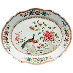Chinese Export Famille Rose Double Peacock Shaped Porcelain Dish, circa 1765