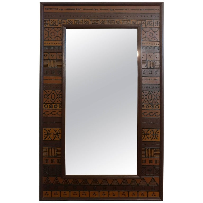 Unusual Custom Raised Pattern Walnut Frame Mirror, 1950s Offered by La Porte For Sale