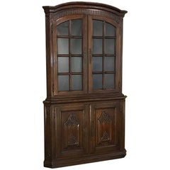 19th Century Country French Corner Bookcase