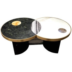 """Sun and Moon"" Marble and Brass or Gold-Plated Coffee Table by Lara Bohinc"