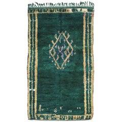 Rare Green Moroccan Berber Rug