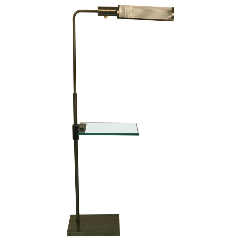 Brass and Cut-Glass Pharmacy Floor Lamp by Casella