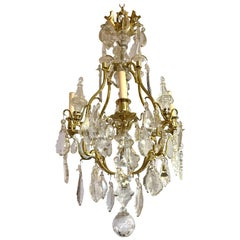 French Four-Light Rock Crystal and Brass Chandelier