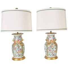 Pair of Antique Rose Mandarin Vases Newly Mounted as Lamps