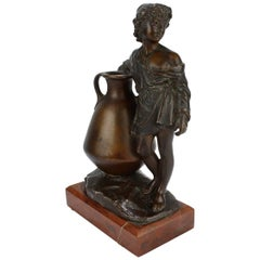 Antique German Orientalist Bronze Sculpture of a Young Boy with Urn by Uhlmann