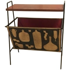 Italian Magazine Rack Brass Accents