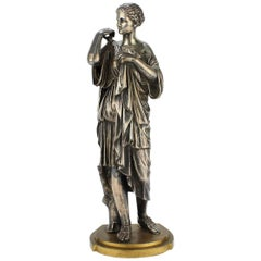 Diane De Gabies Silvered Grand Tour Bronze Sculpture by Gautier & Albinet