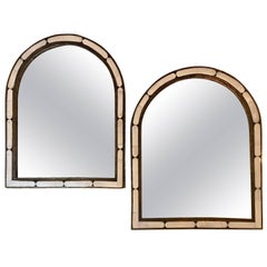 Pair of Large Hollywood Regency Style Moroccan White Camel Bone Mirrors
