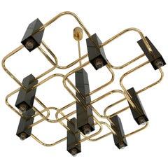 Chandelier Brass by Sciolari, 1970s, Italy