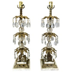 Pair of Hollywood Regency Bronze and Crystal Lamps