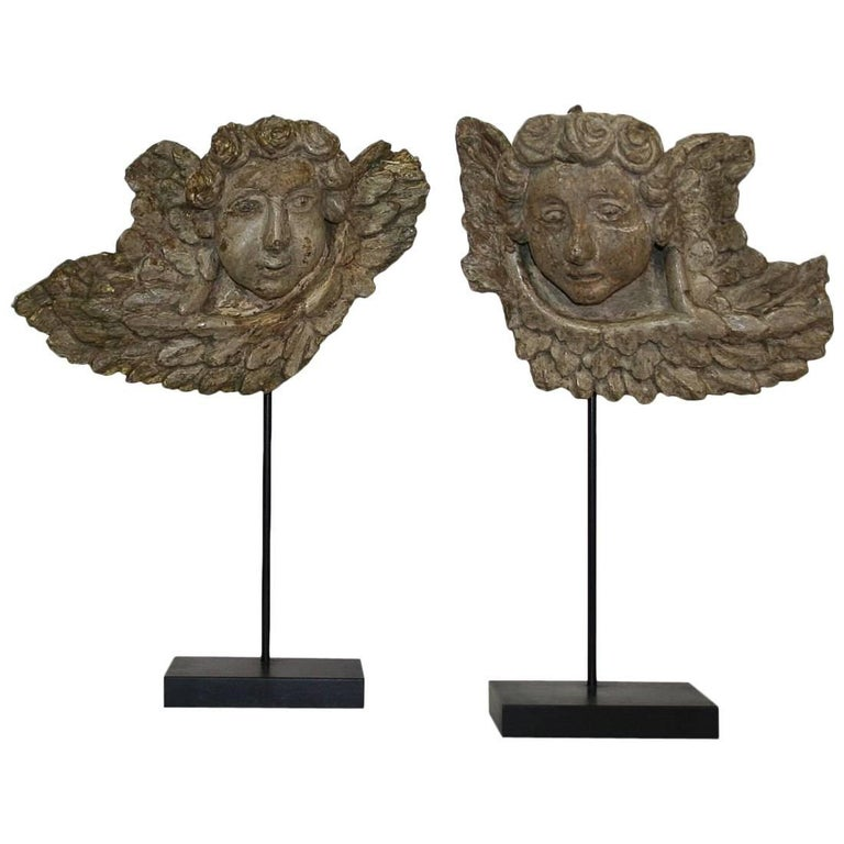 Couple of French, 18th Century Baroque Angel Heads