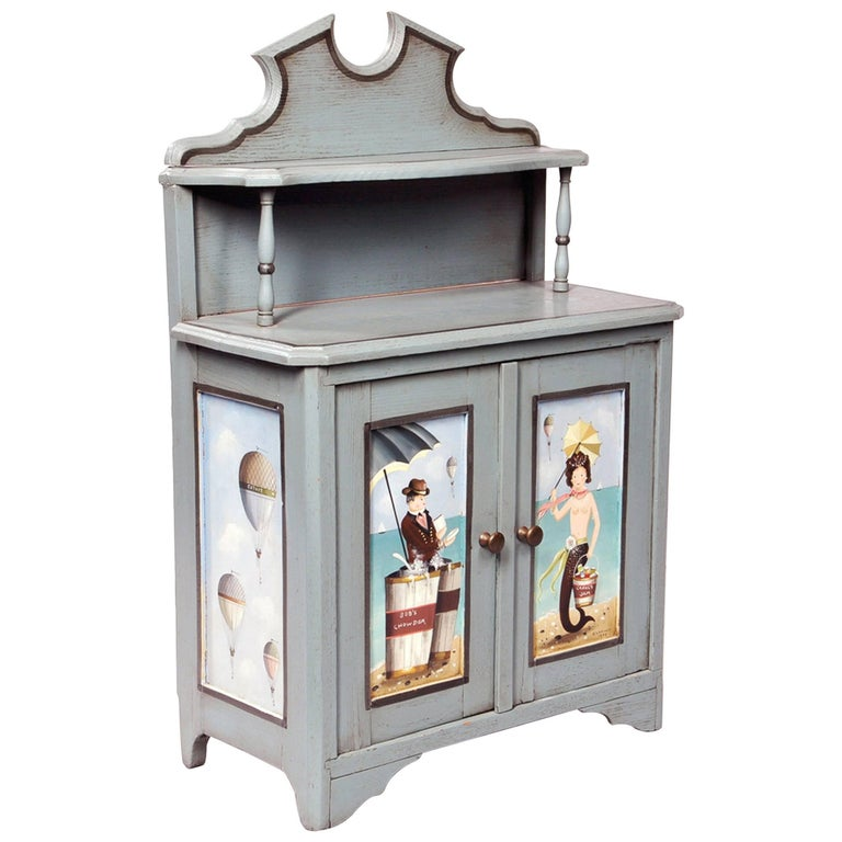 Ralph Cahoon Small Paint-Decorated Cabinet, Signed and Dated 1979 For Sale