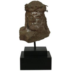 Primitive French Carved Stone Head of Christ