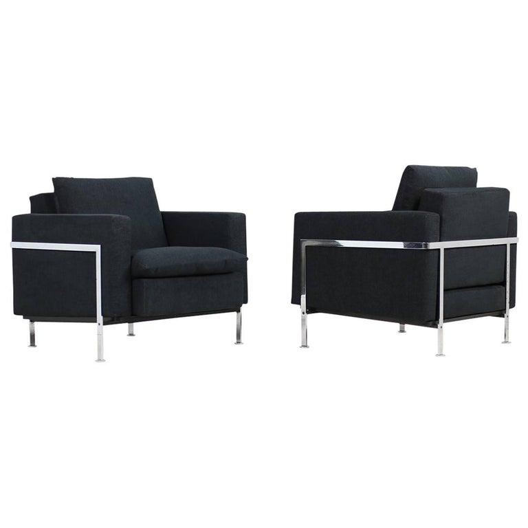 Pair of 1970s Lounge Chairs by Robert Haussmann Mod. RH 302 De Sede, Metal Frame