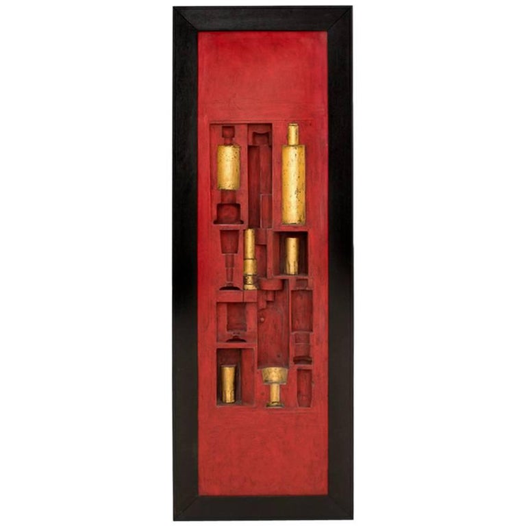 Italian Midcentury Red Lacquered Wooden Wall Panel by Victor Cerrato, 1960s
