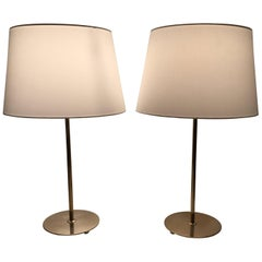 Pair of Early Swedish Bergboms Brass Table Lamps 1940
