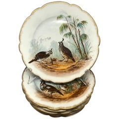 Set of Six Hand-Painted Limoges Game Bird Plates