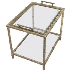 Bamboo Table with Tray Aluminum and Glass, France, 1930s